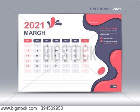Calendar 2021 template, March Page design, Calendar 2021 template, December Page design, Desk calendar 2021 template, happy new year 2021, Week starts on Monday, Fluid colorful background,  Trendy minimal, creative design