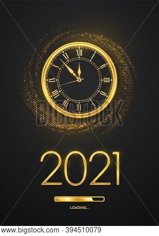 Happy New Year 2021. Golden Metallic Numbers 2021, Gold Watch With Roman Numeral And Countdown Midni