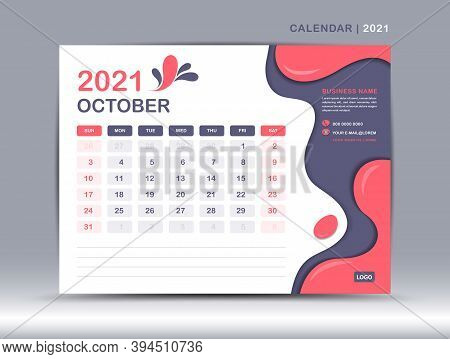 Calendar 2021 template, October Page design,Calendar 2021 template, December Page design, Desk calendar 2021 template, happy new year 2021, Week starts on Monday, Fluid colorful background,  Trendy minimal, creative design