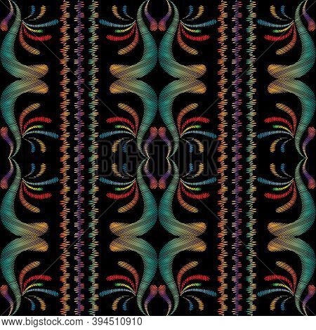 Striped Tapestry Floral Seamless Pattern. Embroidery Damask Flowers, Leaves, Swirls, Vertical Stripe