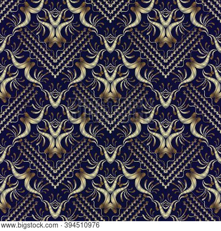 Striped Tapestry Gold Floral Seamless Pattern Background Wallpaper. Embroidery Damask Flowers, Leave