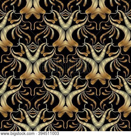 Gold Embroidery Floral Seamless Pattern. Damask Tapestry Background Wallpaper. Embroidery Flowers, L