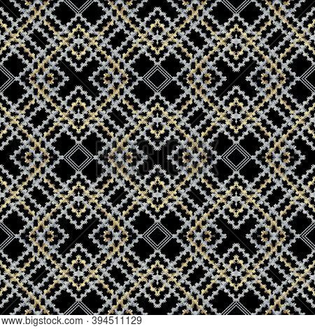Striped Embroidery Check Seamless Pattern. Tapestry Geometric Abstract Background. Grunge Modern Orn
