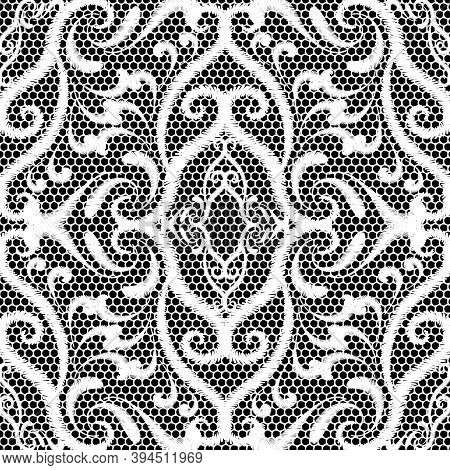 Embroidery Lace Black And White Damask Seamless Pattern. Ornamental Vector Textured Background. Repe