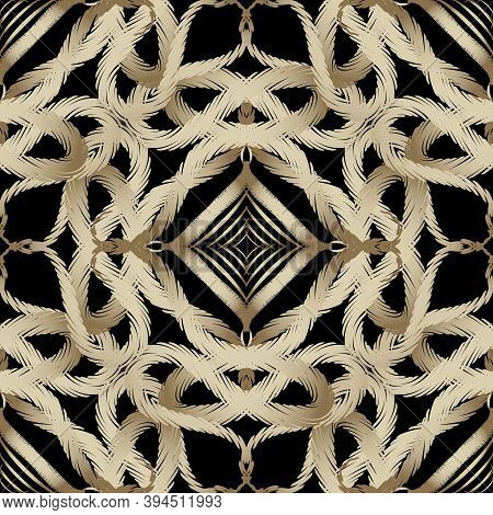 Intricate Embroidery Abstract Vector Seamless Pattern. Vector Intricacy Embroidered Background. Tape