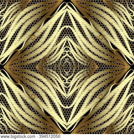 Abstract Gold 3d Embroidery Vector Seamless Pattern. Ornamental Lace Background. Surface Repeat Back