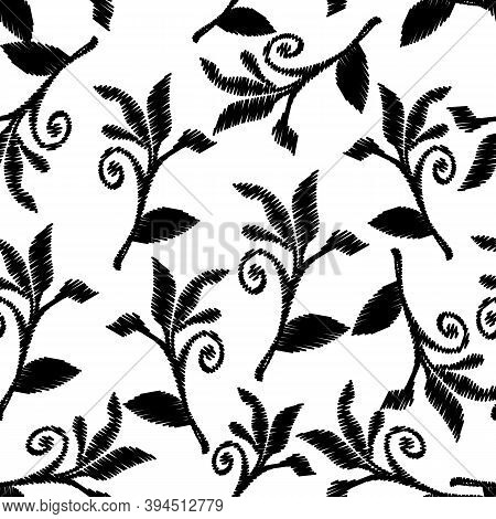 Leafy Embroidery Baroque Style Vector Seamless Pattern. Isolated White Background With Black Tapestr