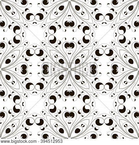 Black And White Vintage Floral Vecor Seamless Pattern. Monochrome Ornammental Ethnic Style Paisley B