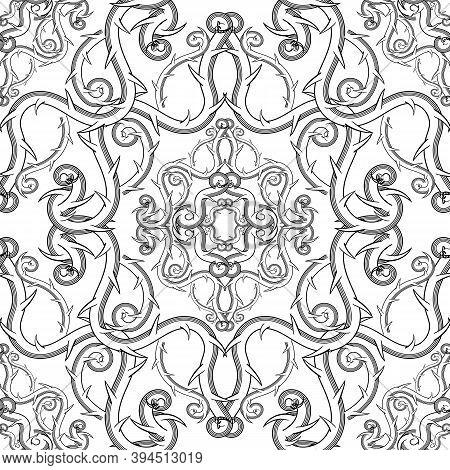 Arabesque Style Floral Damask Black And White Vector Seamless Pattern. Elegance Monochrome Vintage B