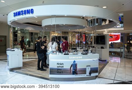 Sydney, Australia - Jan 13, 2019: Samsung Cellphone Booth At The Chatswood Westfield Center. Android