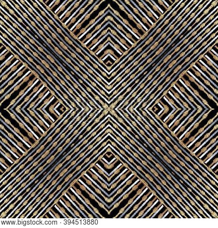 Striped Grunge Zigzag Embroidery Style Geometric Vector Seamless Pattern. Abstract Ornamental Tapest