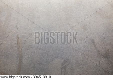 Uncoated Flat Cold Rolled Steel Sheet Surface With Minor Scratches. Close-up In Directly Above Compo