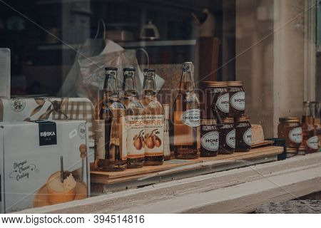 Frome, Uk - October 07, 2020: Local Produce On Retail Display Of A Shop In Frome, A Market Town In T