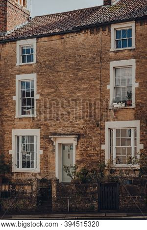 Frome, Uk - October 07, 2020: Facade Of A Traditional Stone House In Frome, A Market Town In The Cou