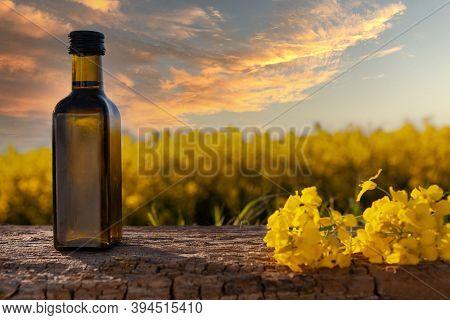 Rapeseed Oil In Bottles On White Wooden Table On Background Flowering Rape Field. Bottle Of Rapeseed