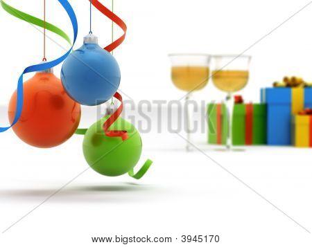 Champagne, regalos y juguetes de Navidad