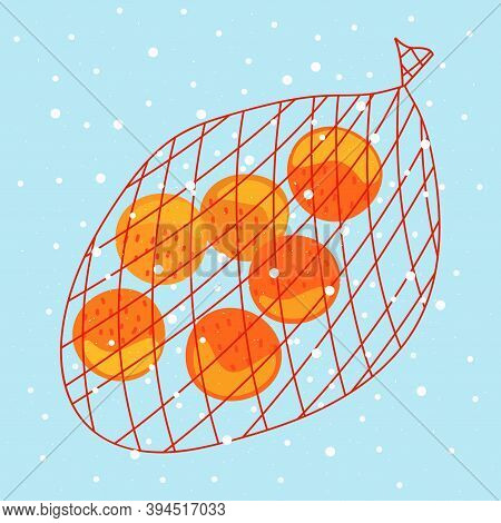 A Grid Of Tangerines On A Snow Background. Festive Fruits With A Christmas Blizzard. Vector Illustra