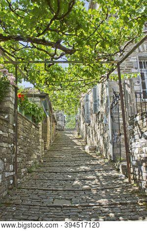 Papingo Epirus, Old Stone Village Street View, Greece, Europe
