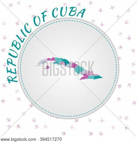 Cuba Map Design. Map Of The Country With Regions In Emerald-amethyst Color Palette. Rounded Travel T