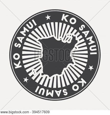 Ko Samui Round Logo. Vintage Travel Badge With The Circular Name And Map Of Island, Vector Illustrat