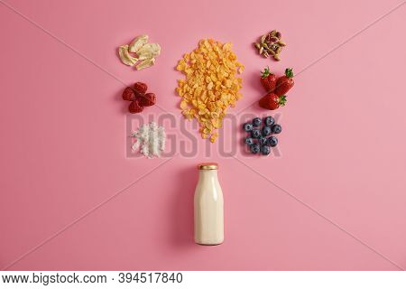 Proper Nutrition And Dieting Concept. Cornflakes And Different Ingredients For Mixing Together And P