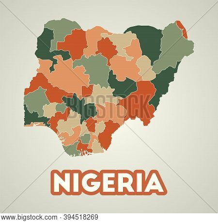 Nigeria Poster In Retro Style. Map Of The Country With Regions In Autumn Color Palette. Shape Of Nig
