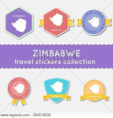 Zimbabwe Travel Stickers Collection. Big Set Of Stickers With Country Map And Name. Flat Material St
