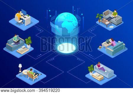 Isometric Video Conference. Working At Home, Coworking Space. Online Meeting Work Form Home. Home Of