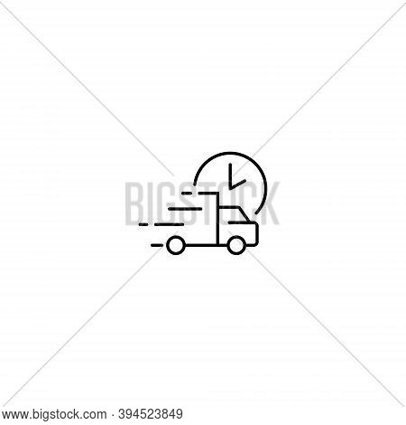Fast Delivery Truck Icon Vector. Quick Distribution Services Symbol Illustration. Editable Stroke