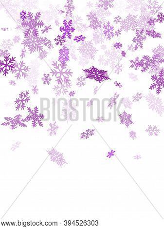 Winter Snowflakes Border Trendy Vector Background.  Macro Snow Flakes Flying Border Illustration, Ca