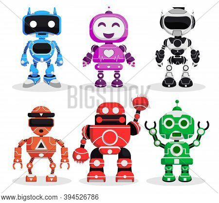 Robot Vector Character Set. Robotic Characters In Standing Pose And Gestures In Modern Design For Ga
