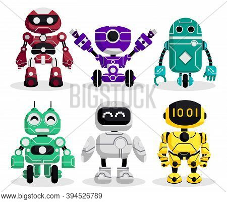 Robot Characters Vector Set. Robotic Character With Modern Technology Cyborg And Android Robots Desi