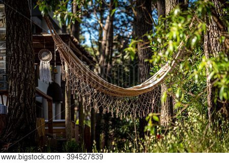 Lonely Hammock Among Shade, Sunlight And Trees Near The Beach. Concept Of Relax, Peace, Resting And