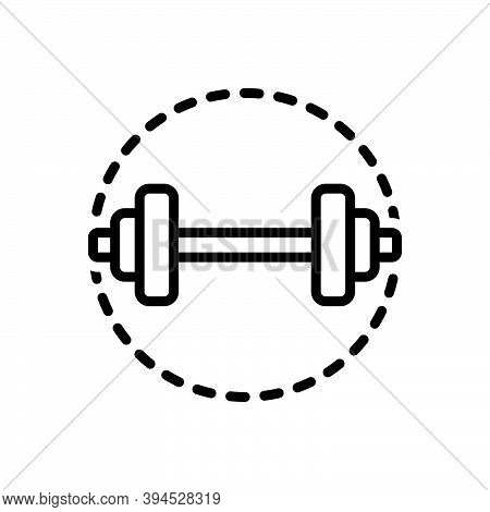 Black Line Icon For Strong Dumbbell Workout Gym Heavy Training Exercise Fitness Activity Stamina Bod
