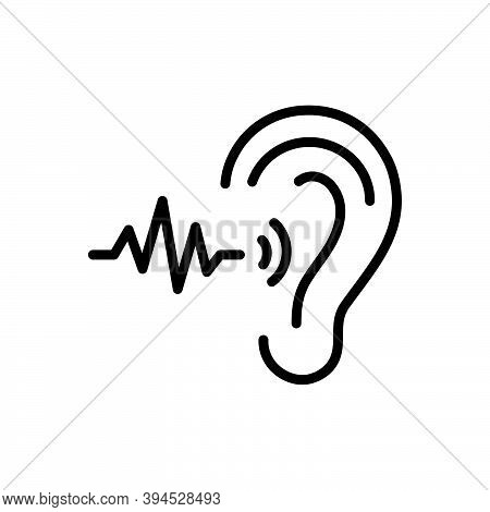 Black Line Icon For Frequent Ear Sound Frequency Repeat Continual Always Regular Steady Communicatio