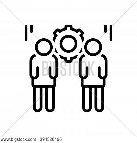 Black Line Icon For Responsible Colleague Corporate Responsive Liable Accountable Trustworthy People
