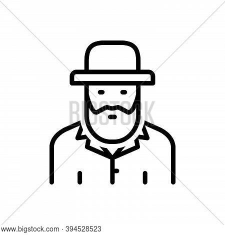 Black Line Icon For Israeli Culture Civilization Human Country Ethnic Costume People Jewish-man