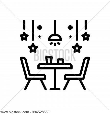 Black Line Icon For Restaurant Eating-place Eatery Canteen Dining Chair Cloth Dining-table Table Dec