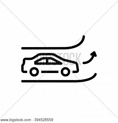Black Line Icon For Side Road-side Roundabout Region Turn Part Bedside Street Car Way