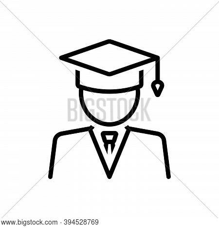 Black Line Icon For Student People University Graduation Education Degree Bachelor Graduation-cap Ac