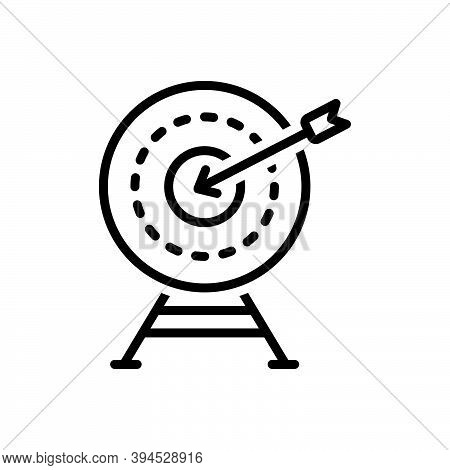 Black Line Icon For Exactly Accurately Archery Shooting Range Achievement Target Goal Shot