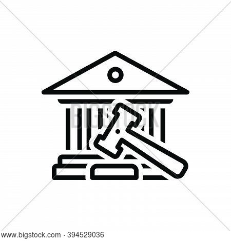 Black Line Icon For Court Hammer Court-house Governmental Authority Judge Magistrate Syllogism Recti