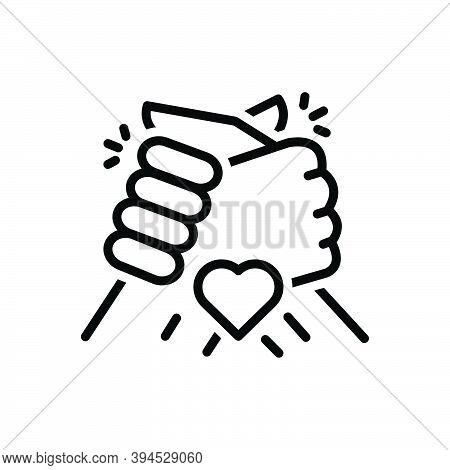 Black Line Icon For Friend Colleague Friendship Partner Buddy Chum Group Partner Fellow Companion Ha