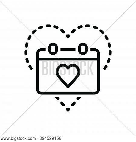 Black Line Icon For Anniversary Commemoration Jubilee Ceremony Festival Gift Love