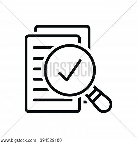 Black Line Icon For Assess Evaluate Appraise Review Result Report Document Paper Statement Research