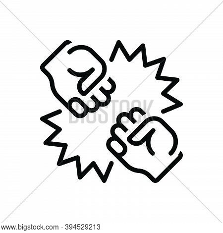 Black Line Icon For Conflict Quarrel Struggle Rigid Stiff Punch Fight Bump Boxing Pugilism Fisticuff