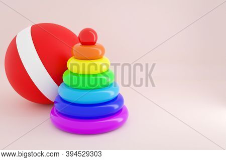 3d Illustration Of A Plastic Toy  Children's Sorter Pyramid Of Colorful Parts In The Shape Of A Circ