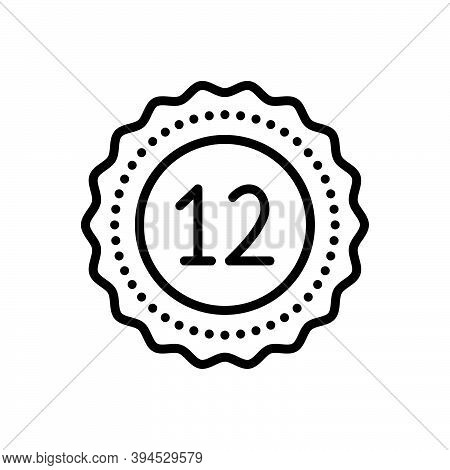 Black Line Icon For Twelve Fulfillment Digit Mathematical Calculated Dozen Zodiac Numerical Number L