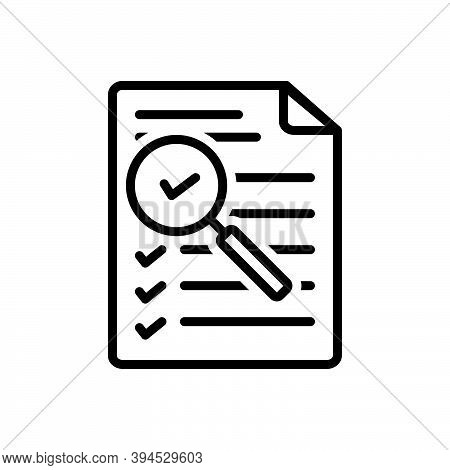 Black Line Icon For Assessment Document Evaluation Research Magnifying-glass Notice Checklist Feedba
