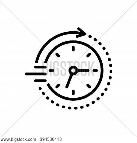 Black Line Icon For Soon Time Clock Arriving Quickly Speedily Facilely Hastily In-a-hurry Swiftly Pr